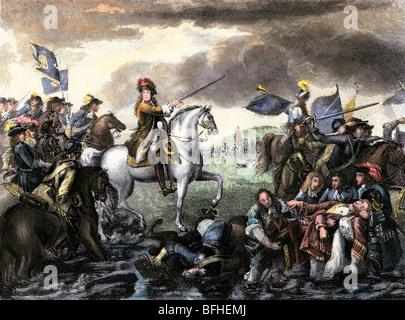 Guillermo de Orange, más tarde el Rey Guillermo III de Inglaterra, líder del ejército holandés en Inglaterra de la Gloriosa Revolución. Mano de color halftone de ilustración. Foto de stock