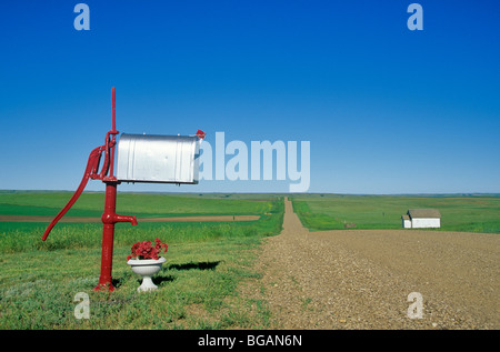 Buzón del rancho y a lo largo de country road con el viejo país school house en Great Plains cerca de bisontes, South Dakota, Bean ALPix 0508