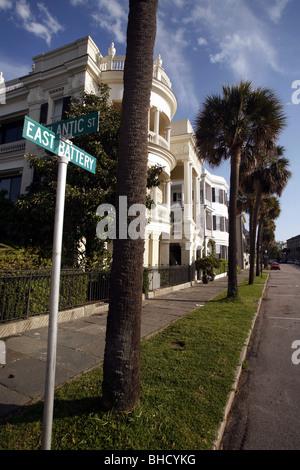Mansiones, la batería, Charleston, Carolina del Sur, EE.UU.