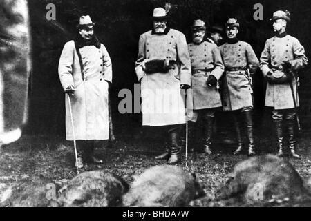 Guillermo II, 27.1.1859 - 4.6.1941, emperador alemán 15.6.1888 - 9.11.1918, caza, circa 1900, ,
