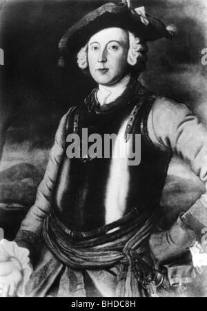 Munchhausen, Karl Friedrich Hieronymus von, 11.5.1720 - 22.2.1797, oficial alemán, la mitad de la longitud, uniforme del Regimiento ruso 'Brunswick Cuirassiers', pintura, circa 1740, ,