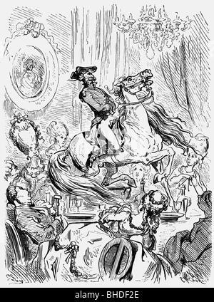 Munchhausen, Karl Friedrich Hieronymus von, 11.5.1720 - 22.2.1797, oficial alemán, aventuras, montar su caballo sobre una tabla de madera decorada, grabado de Gustave Doré, 1866, Copyright del artista , no tiene que ser borrados