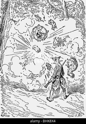 Munchhausen, Karl Friedrich Hieronymus von, 11.5.1720 - 22.2.1797, oficial alemán, aventuras, la explosión del oso, el grabado en madera por Gustave Doré, 1866, Copyright del artista , no tiene que ser borrados