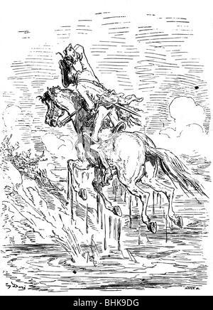 Munchhausen, Karl Friedrich Hieronymus von, 11.5.1720 - 22.2.1797, oficial alemán, aventuras, tirando de él en su copete fuera del pantano, grabado en madera por Gustave Doré, 1866, Copyright del artista , no tiene que ser borrados