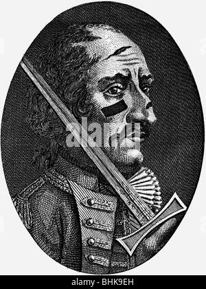 """Munchhausen, Karl Friedrich Hieronymus von, 11.5.1720 - 22.2.1797, oficial alemán, retrato, grabado en cobre, """"una secuela de las aventuras del barón Munchhausen' , de 1792, Copyright del artista no ha de ser borrado"""