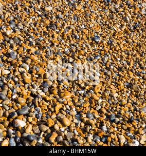 Hastings, East Sussex, Inglaterra. Guijarros playa brillando en el sol.