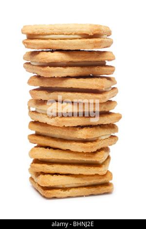 Pila de flan galletas Crema Foto de stock