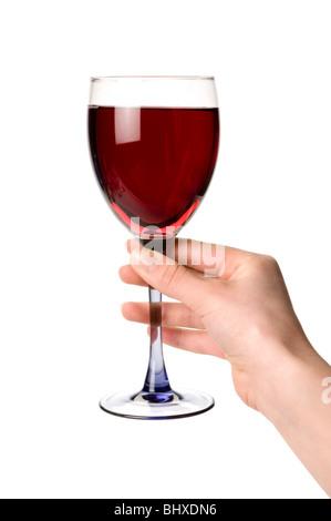 Mano y copa de vino