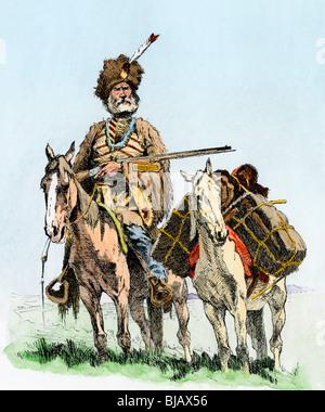 Viejo hombre de la montaña con su pack pony cargado de pieles. Xilografía coloreada a mano de un Frederic Remington Foto de stock