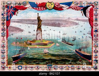 El regalo de Francia al pueblo americano, la colosal estatua Bartholdi, La Libertad Iluminando al Mundo, 1884 Foto de stock