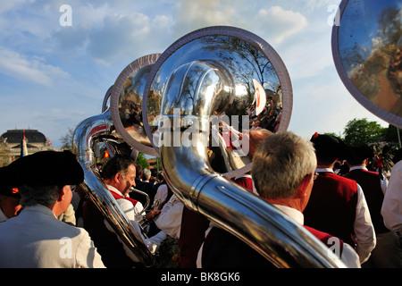 Tuba player en el Zurich Sechselaeuten, tradicional festival anual, en Zurich, Suiza, Europa Foto de stock