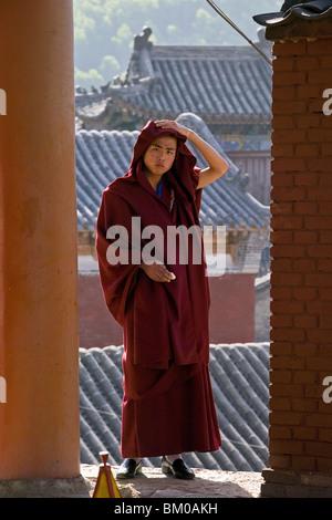 Retrato, joven monje budista en túnica roja, enmarcado por los muros del monasterio, Monasterio Xiantong Wutai Shan, Foto de stock