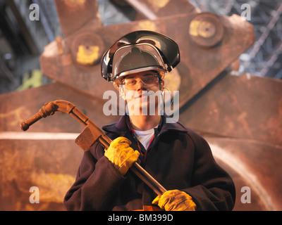 Los trabajadores siderúrgicos en Plant Foto de stock