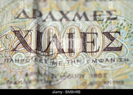 Detalle de 1000 Drachmen-Note, la antigua Grecia dinero