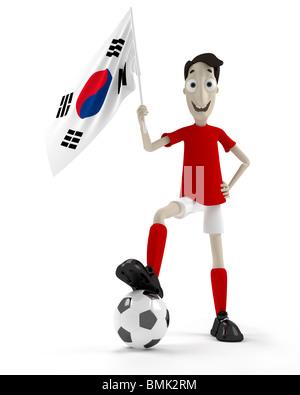 Sonriente jugador de fútbol del estilo de dibujos animados con la bola y la bandera de Corea del Sur Foto de stock