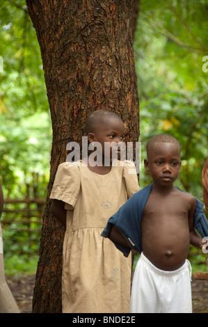 África, Togo, Kpalime Valle. Pueblo Togolés rural, los niños locales.