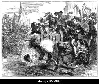Ilustración en blanco y negro de la muerte de Wat Tyler, la revuelta de los campesinos, el 15 de junio de 1381
