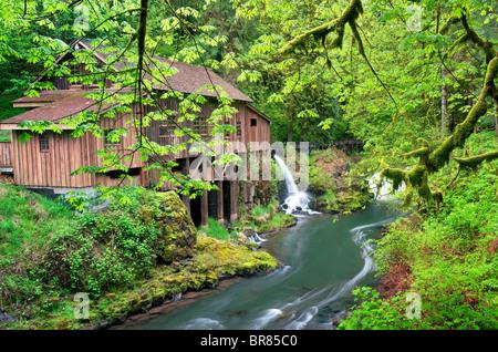 El Cedar Creek Grist Mill en primavera. Woodland, Washington Foto de stock