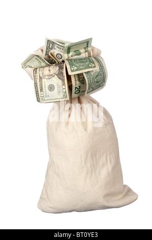Un saco de arpillera de efectivo sobre un fondo blanco.