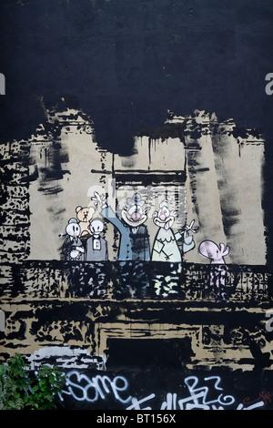 Banksy retrato de la familia real, stencil graffiti, Londres Stoke Newington Church Street, la calle de arte urbano contemporáneo