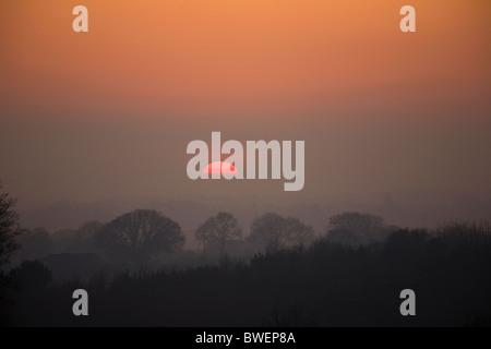 Flotante misterioso mitad puesta de sol en invierno aumento de vapor y niebla durante un boscoso valle oscuro bajo el cielo rojo cerca Hawkhurst Kent