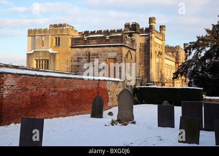 Elvaston Castle Edificio de grado II y Country Park en invierno,Derby Derbyshire Inglaterra .UK