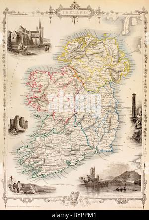 Mapa de Irlanda a partir de la historia de Irlanda por Thomas Wright, publicado alrededor de 1854.