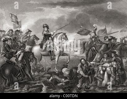 El rey Guillermo III, 1650 - 1702 en la Batalla del Boyne, Irlanda en 1690. Foto de stock