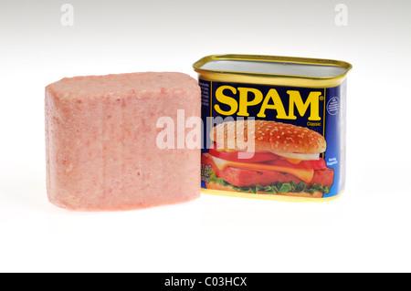 Lata de Hormel Foods abrió con spam spam carne junto a la can sobre fondo blanco, aislado. Ee.Uu.
