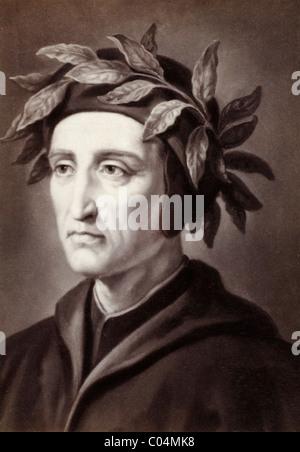 Dante Alighieri (1265-1321) Poeta italiana con corona de hojas. Retrato C19th Albúmen Impresión de pintura anterior.