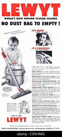 1950 original publicidad en la revista del consumidor americano para el LEWYT ASPIRADORA