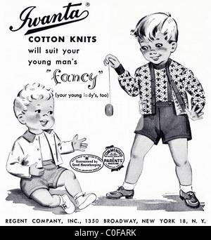 Anuncio en 1950 revista americana para bebés IWANTA ropa tejida