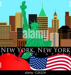 Nueva York Manhattan con la estatua de la libertad ilustración en color Foto de stock