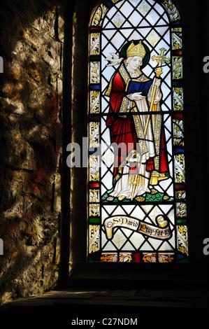 Capilla de St Nons Pembrokeshire vidrieras que representan St David el santo patrón de Gales St Davids Wales Cymru Reino Unido GB