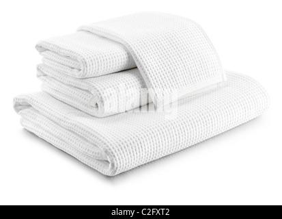 Pila de toallas waffle blanco