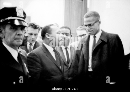 Martin Luther King y Malcolm X. Foto de stock