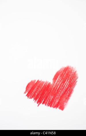 Amor corazones de color rojo. Dibujo a Lápiz de color