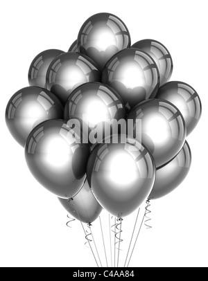 Parte de plata globos sobre fondo blanco.