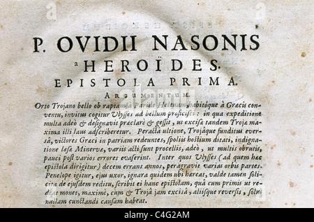 Publius Ovidius Naso (43 B.C.-17/18 A.C.), conocido como Ovidio. El Heroides ('heroínas') o Epistulae Heroidum. Foto de stock