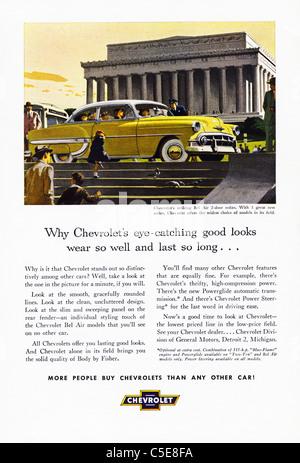 1950 Original anuncio en revista americana publicidad CHEVROLET coches