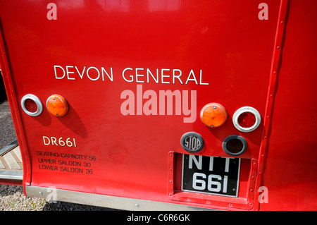 Devon Classic Double Decker Bus general exhiben en Dawlish Warren en Devon