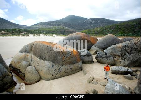Las rocas de granito, Whisky Bay, Wilsons Promontory National Park, Victoria, Australia Foto de stock