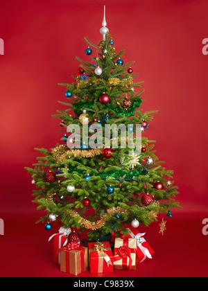 Árbol de Navidad decorado real aislado sobre fondo rojo.