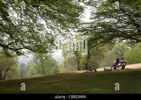 Una joven pareja relajarse sentados en la cima de una colina en el banco de Londres Richmond Park, Londres. Sus bicicletas a la lejía en el suelo, junto a ellas.