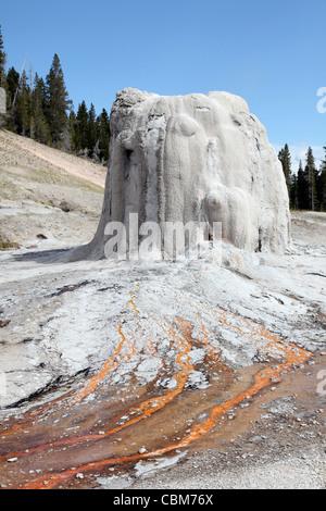 Lone Star Geyser geyserite cono, Tercer Geyser Basin área geotérmica, Caldera de Yellowstone, el Parque Nacional Yellowstone, Wyoming. Foto de stock