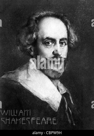 William Shakespeare (1564-1616) dramaturgo, escritor y poeta inglés. Retrato. Ilustración Vintage o Grabado