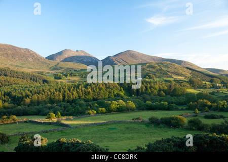 Tierras de labranza y bosque bajo las Montañas Mourne, Condado de Down, Irlanda del Norte.