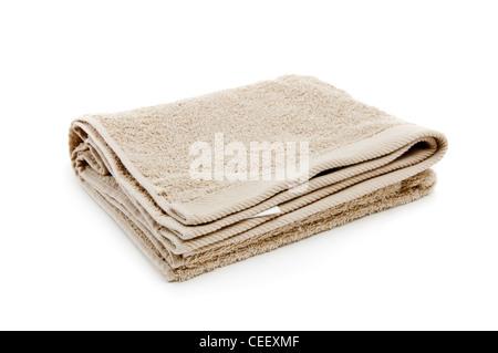 Beautifu toallas nuevas, la imagen está tomada sobre un fondo blanco.
