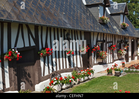 Mitad de madera tradicional Normandía granja en Jumièges, Normandía, Francia