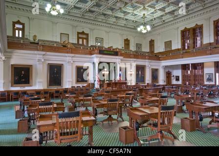 La Cámara del Senado en el Capitolio Estatal en Austin, Texas, EE.UU.